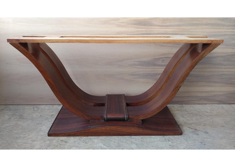 Veneer French Art Deco Dining Room Table or Desk For Sale