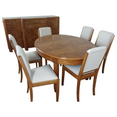 French Art Deco Dining Suite in Satinwood and Burr Elm by Léon Jallot
