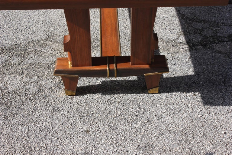 French Art Deco Dining Table with Diamond Marquetry by Jules Leleu Style For Sale 6