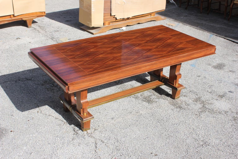 Mid-20th Century French Art Deco Dining Table with Diamond Marquetry by Jules Leleu Style For Sale
