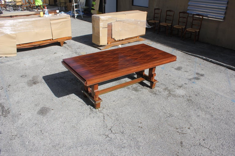 Wood French Art Deco Dining Table with Diamond Marquetry by Jules Leleu Style For Sale
