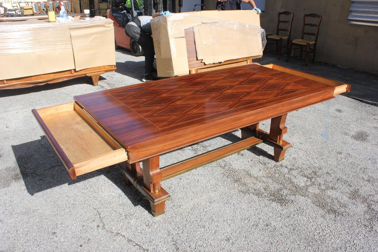 French Art Deco Dining Table with Diamond Marquetry by Jules Leleu Style For Sale 2