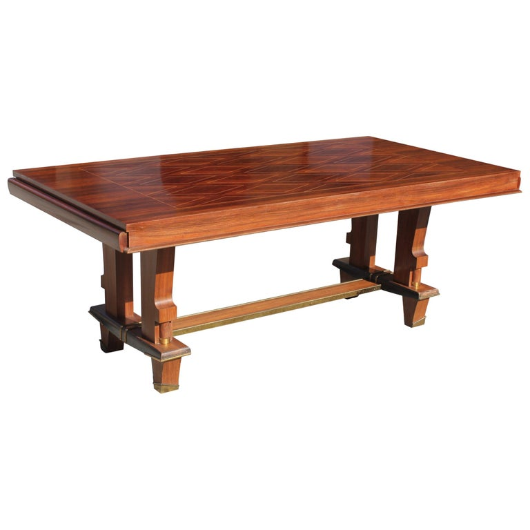 French Art Deco Dining Table with Diamond Marquetry by Jules Leleu Style For Sale