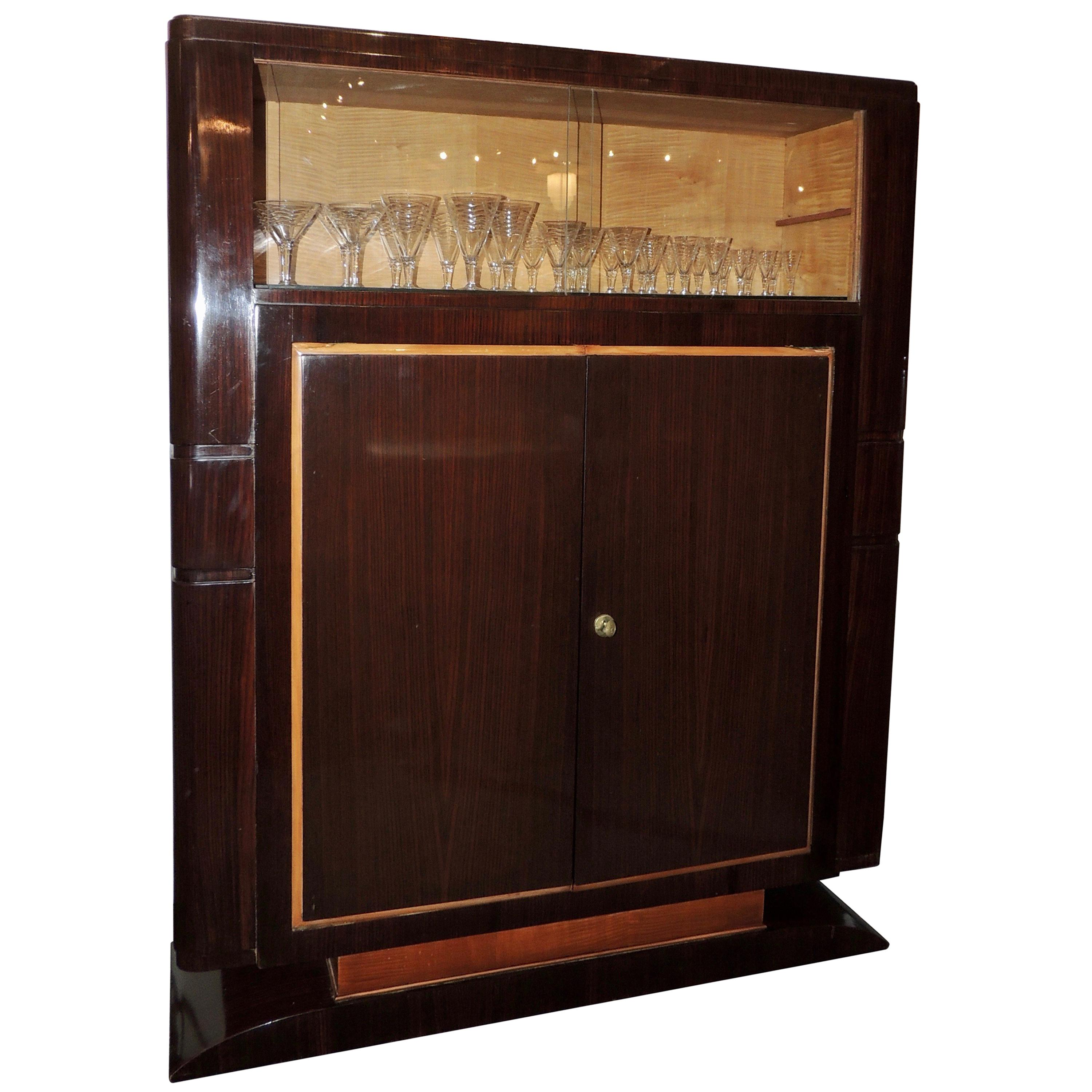 French Art Deco Display Cabinet in Macassar by Jules Leleu