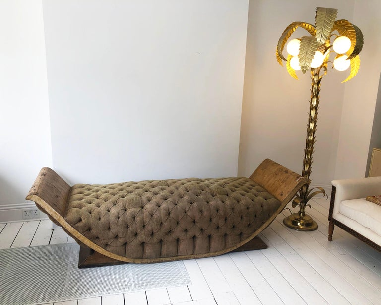 Veneer French Art Deco Distressed Gondola Chaise Longue Antique Daybed Vintage For Sale
