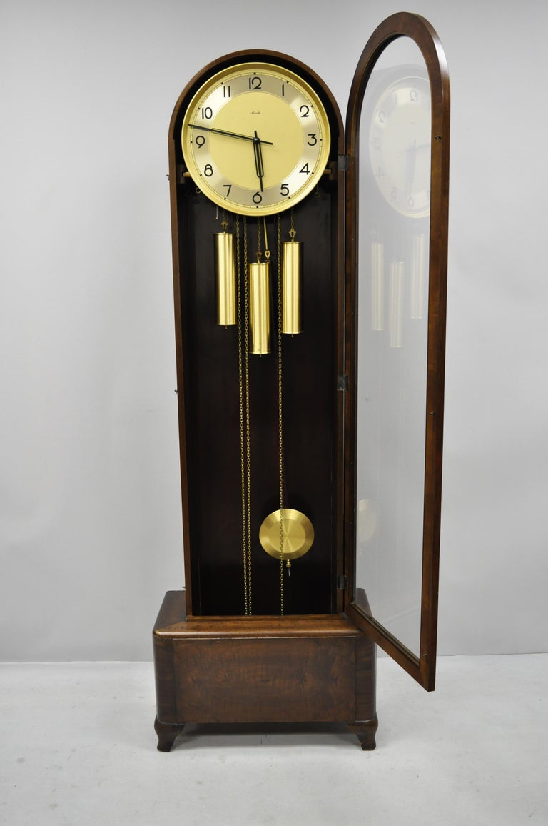 French Art Deco Dome Top Mahogany Grandfather Clock By