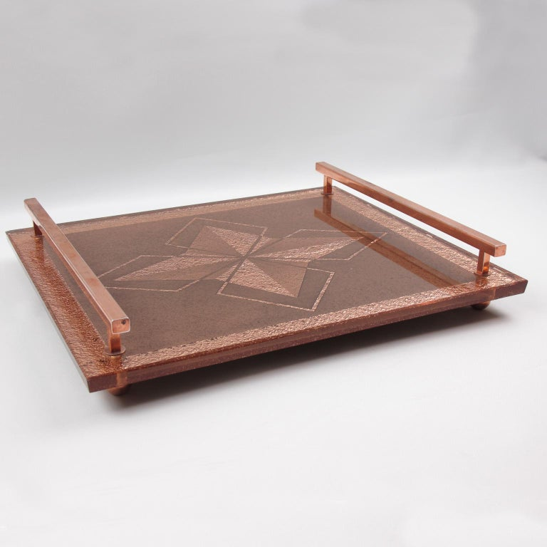 French Art Deco Dresser or Barware Copper and Peach Mirror Serving Tray In Good Condition For Sale In Atlanta, GA