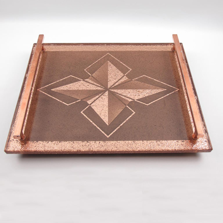 Mid-20th Century French Art Deco Dresser or Barware Copper and Peach Mirror Serving Tray For Sale