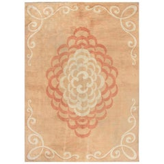 French Art Deco Dusty Rust and Brick Red Handmade Wool Rug