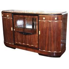 French Art Deco, Ebonized Acajou, Rosewood, Marble-Top Sideboard