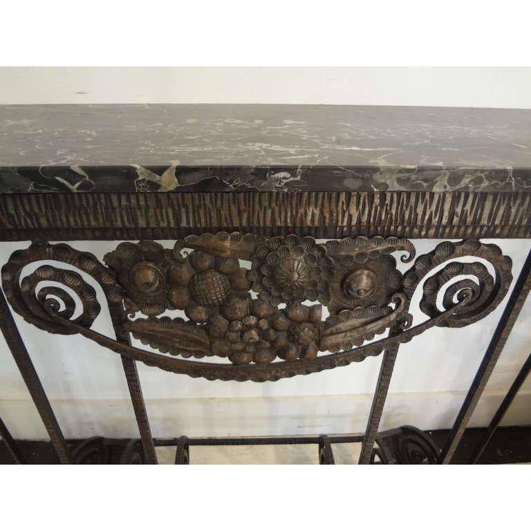 French Art Deco Edgar Brandt Inspired Wrought Iron Console Table In Good Condition For Sale In Houston, TX