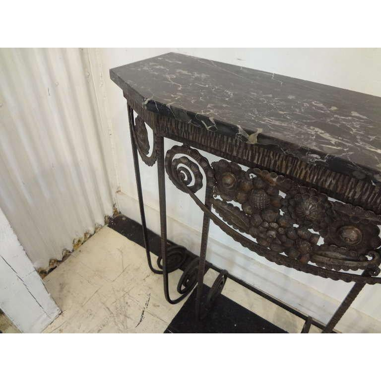 Mid-20th Century French Art Deco Edgar Brandt Inspired Wrought Iron Console Table For Sale
