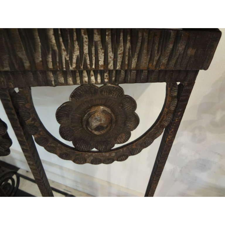 French Art Deco Edgar Brandt Inspired Wrought Iron Console Table For Sale 1