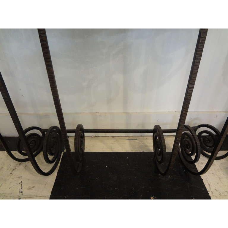 French Art Deco Edgar Brandt Inspired Wrought Iron Console Table For Sale 2