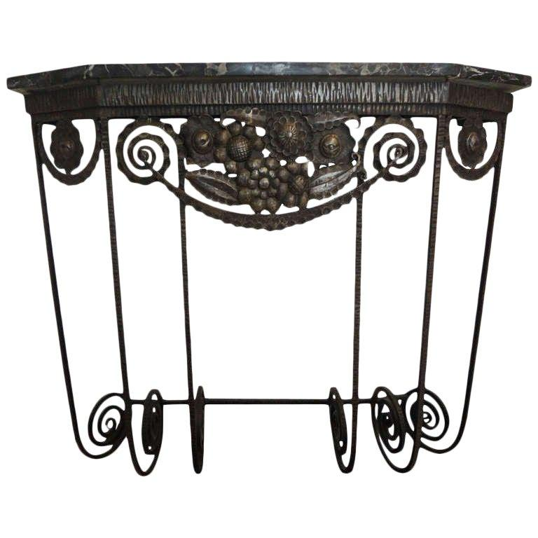 French Art Deco Edgar Brandt Inspired Wrought Iron Console Table For Sale 4