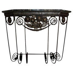 French Art Deco Edgar Brandt Inspired Wrought Iron Console Table