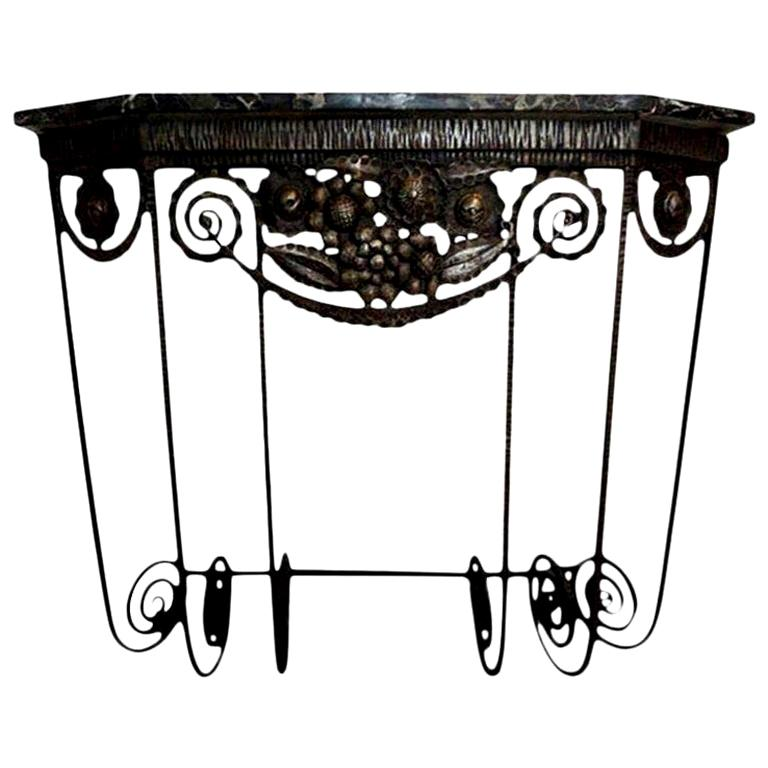 French Art Deco Edgar Brandt Inspired Wrought Iron Console Table For Sale