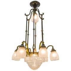 French Art Deco Eight-Light Bronze Chandelier