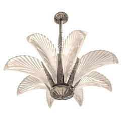 French Art Deco Eight Panels Feather Chandelier