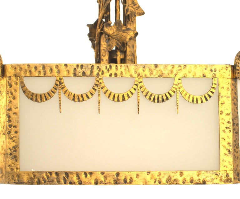 20th Century French Art Deco Eight Sided Chandelier For Sale