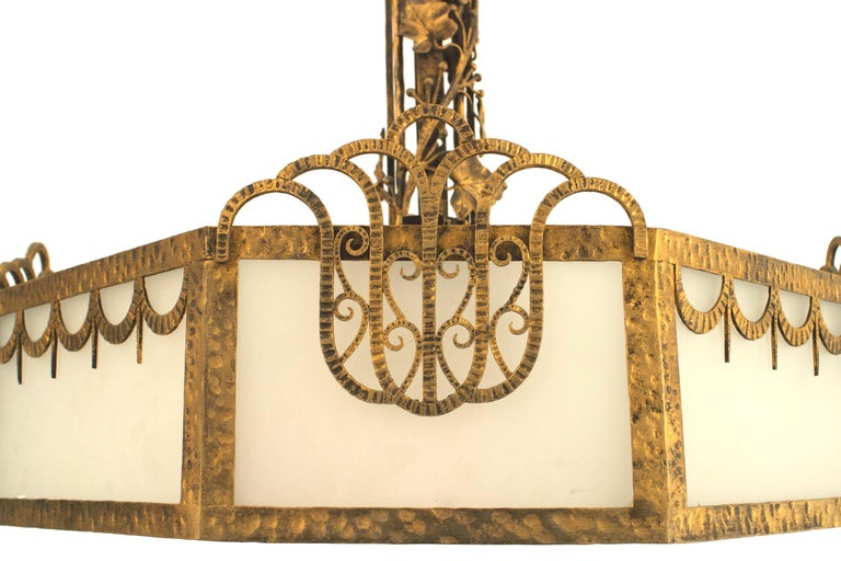 Milk Glass French Art Deco Eight Sided Chandelier For Sale