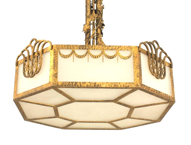 French Art Deco Eight Sided Chandelier For Sale 1