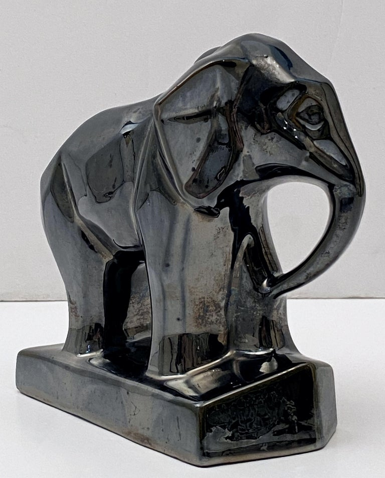 Ceramic French Art Deco Elephant Figurine in the Cubist Style For Sale