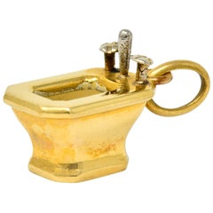 French Art Deco Enamel 18 Karat Gold Powder Room Sink Charm