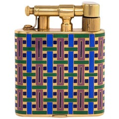 French Art Deco Enamel and Gold Hammer Lighter