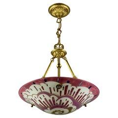 French Art Deco Enameled Glass Pendant Light Signed by Maxonade, Paris, 1930s