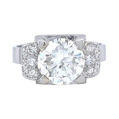 French Art Deco Engagement Ring GIA 2.24 Brilliant Cut Diamond Platinum Ring