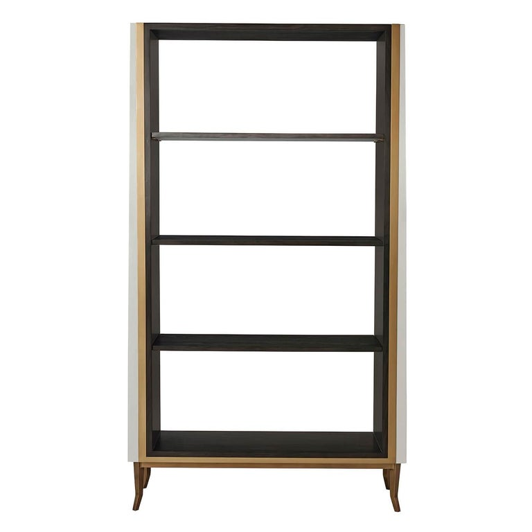 French Art Deco style open bookcase étagère with ash crown veneer, gilt three-quarter frame, with three shelves, (two adjustable) and tern finish shagreen embossed leather exterior panels.