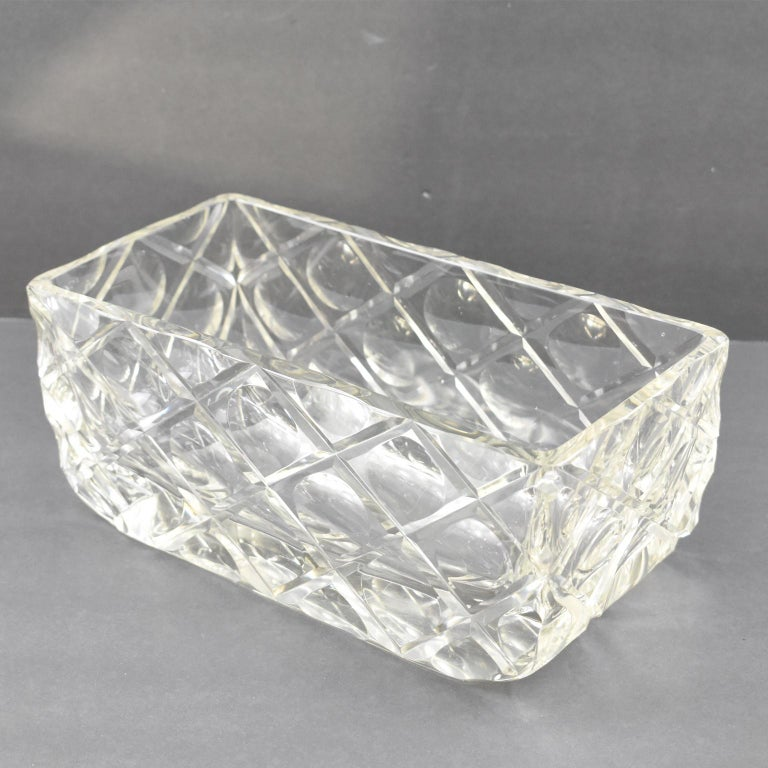 French Art Deco Etched Crystal Centerpiece Bowl Vase Planter For Sale 6
