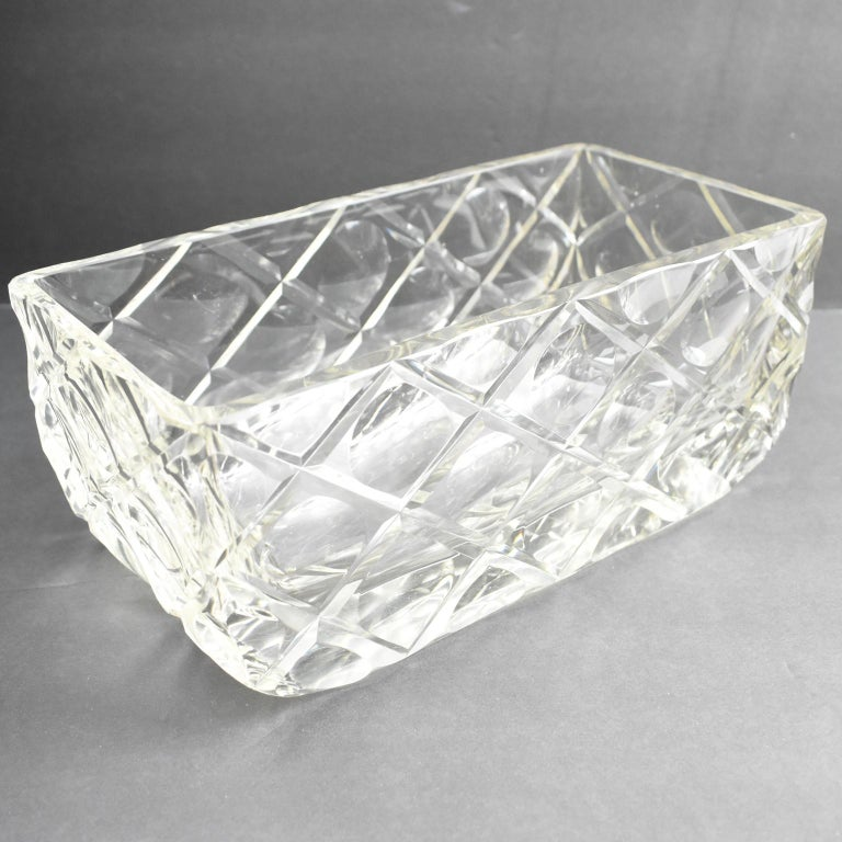 French Art Deco Etched Crystal Centerpiece Bowl Vase Planter For Sale 1