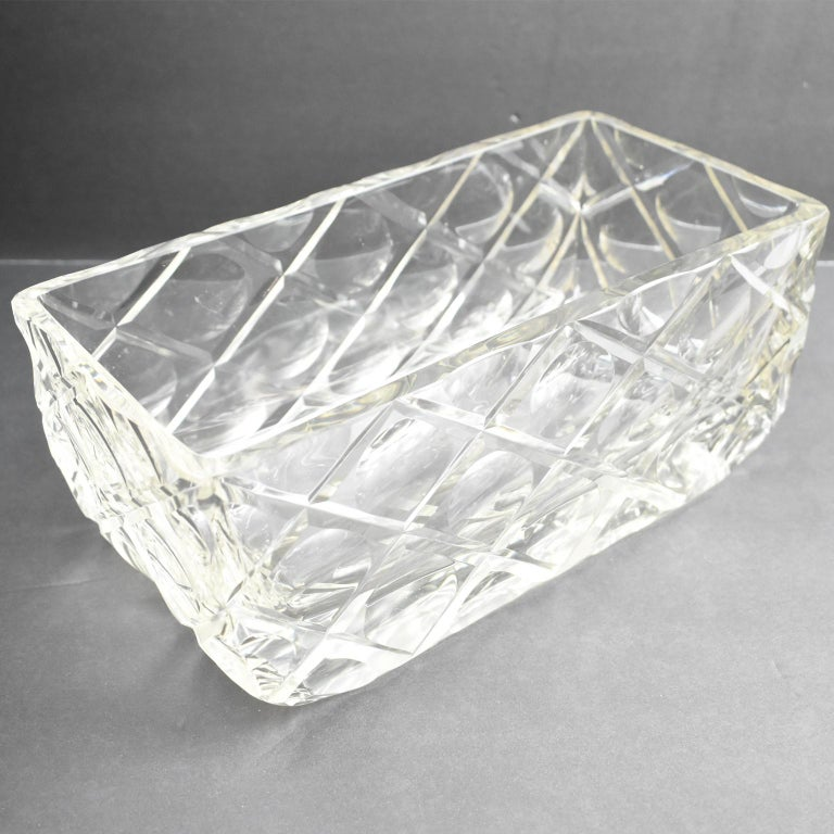 French Art Deco Etched Crystal Centerpiece Bowl Vase Planter For Sale 2