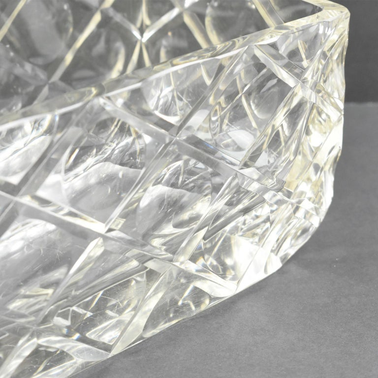 French Art Deco Etched Crystal Centerpiece Bowl Vase Planter For Sale 4