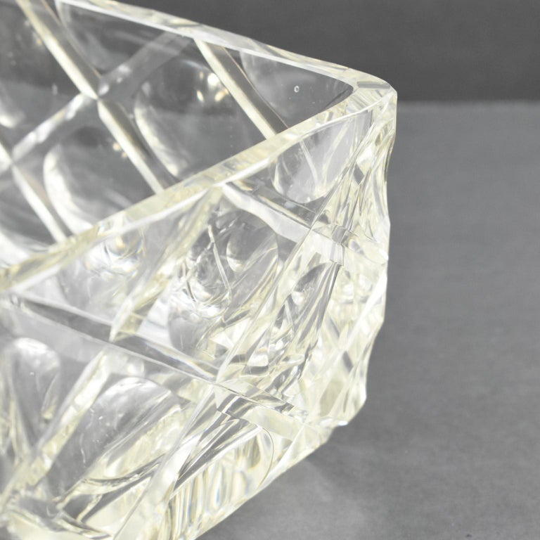French Art Deco Etched Crystal Centerpiece Bowl Vase Planter For Sale 5
