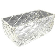 French Art Deco Etched Crystal Centerpiece Bowl Vase Planter