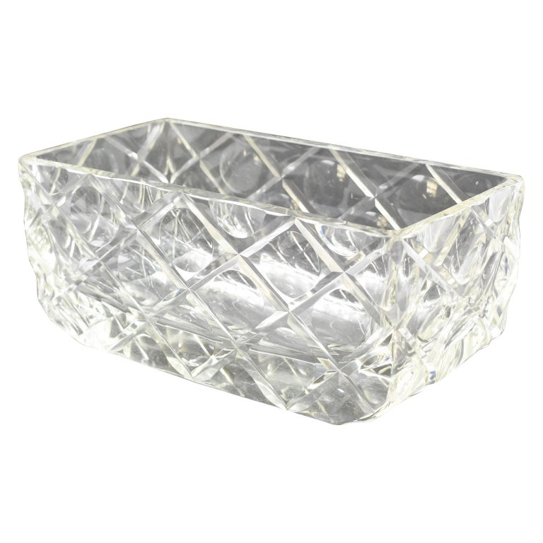 French Art Deco Etched Crystal Centerpiece Bowl Vase Planter For Sale