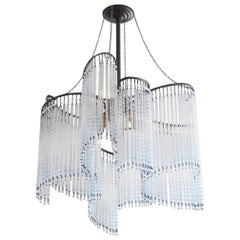 French Art Deco Etched Glass Rod Three-Light Chandelier, 1930s
