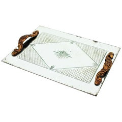 French Art Deco Etched Mirror Tray with Compass Rose and Grid Design