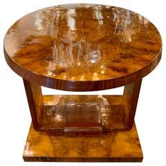 French Art Deco Exotic Burl Veneer Side Table