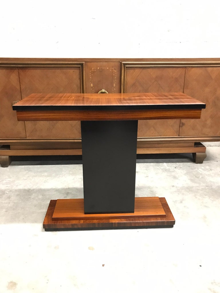 French Art Deco Exotic Macassar Console Table Circa 1940s