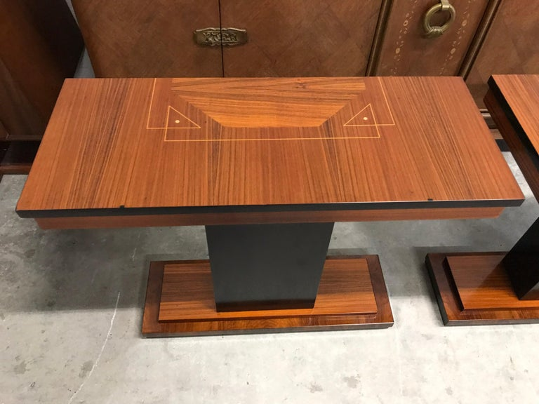 French Art Deco Exotic Macassar Console Table, circa 1940s For Sale 9