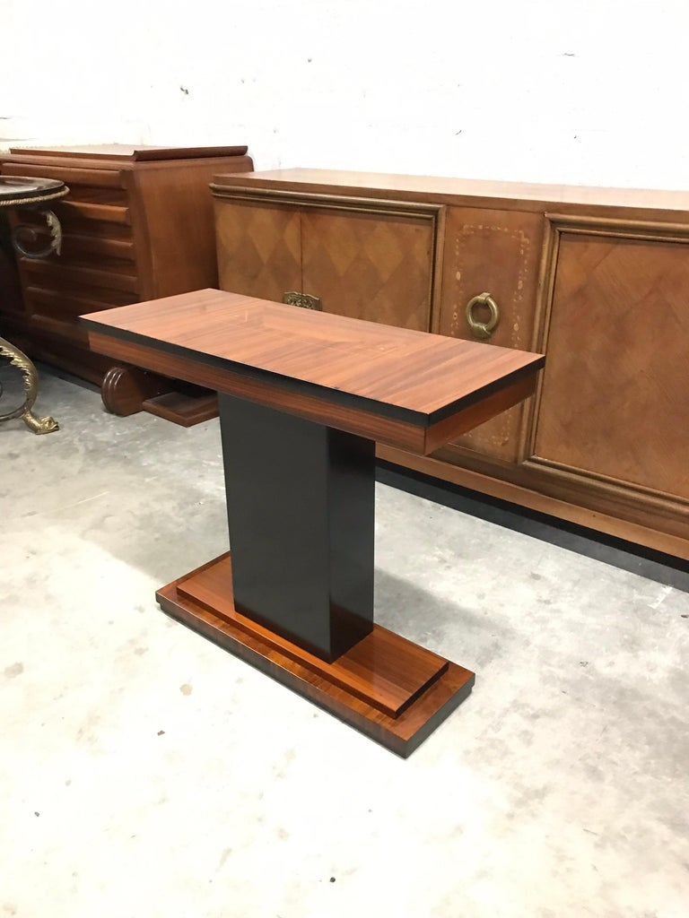 French Art Deco Exotic Macassar Console Table, circa 1940s For Sale 13