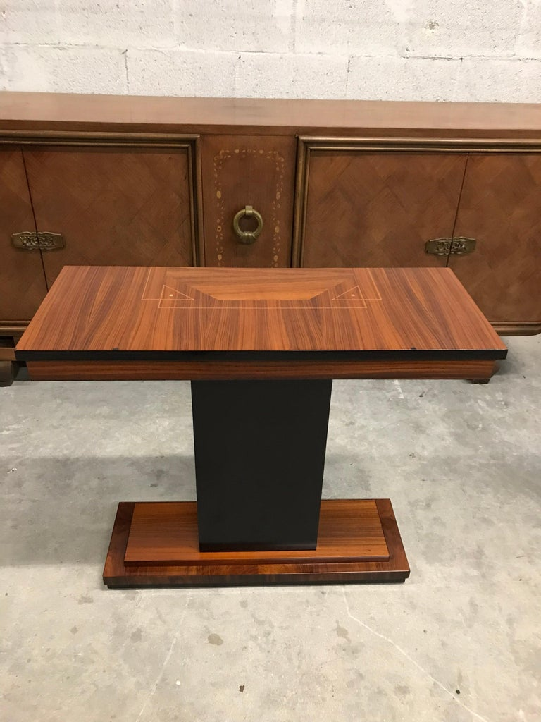 French Art Deco Exotic Macassar Console Table, circa 1940s In Good Condition For Sale In Hialeah, FL