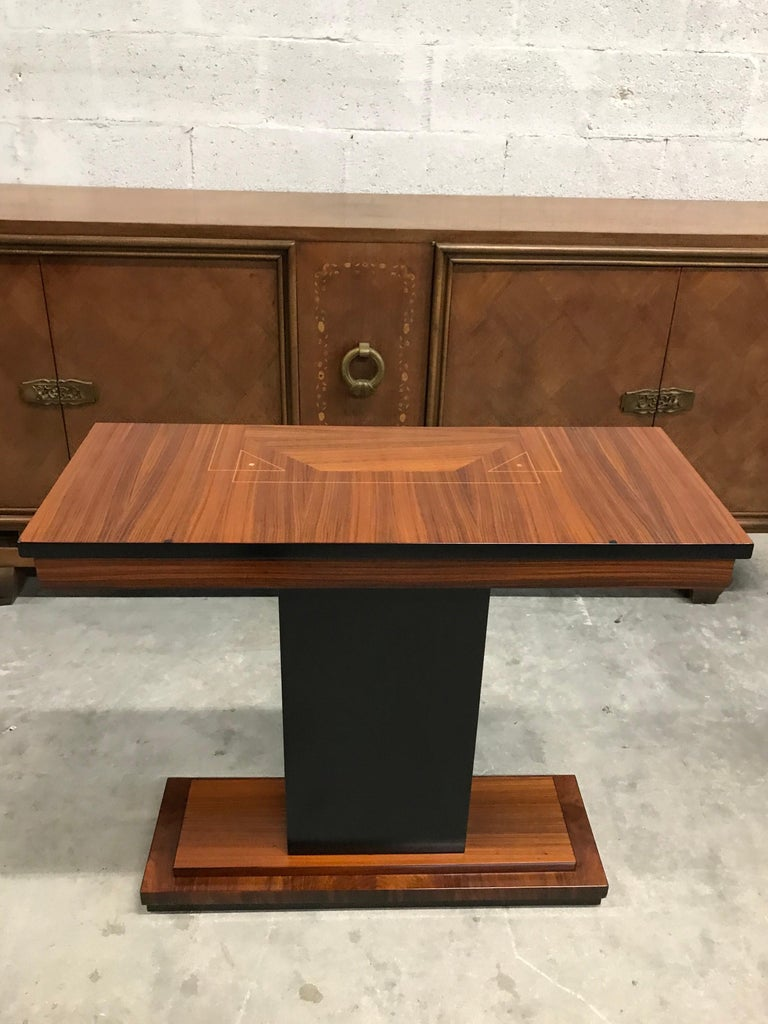 French Art Deco Exotic Macassar Console Table, circa 1940s For Sale 4