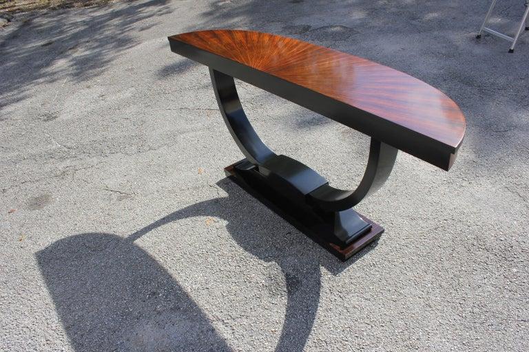 French Art Deco Exotic Macassar Ebony 'Sunburst' Console Tables, circa 1940s For Sale 7