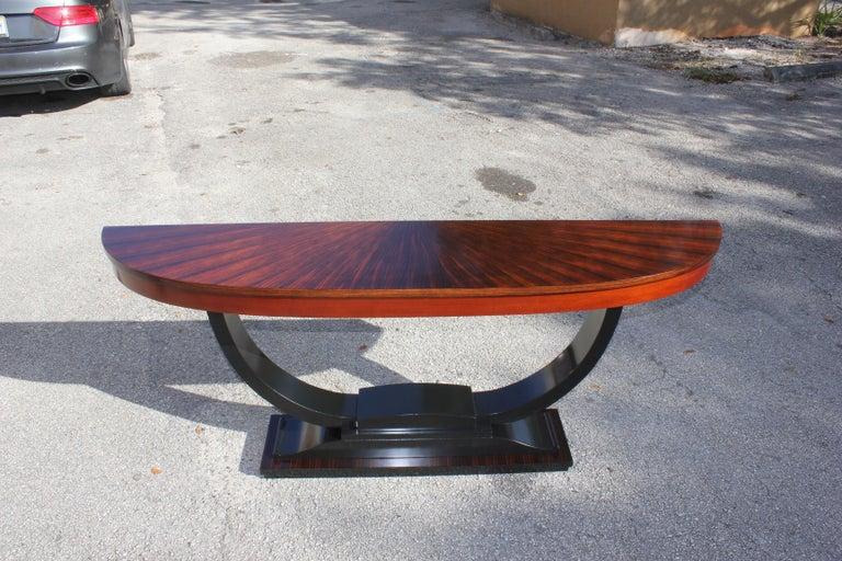 French Art Deco Exotic Macassar Ebony 'Sunburst' Console Tables, circa 1940s For Sale 13