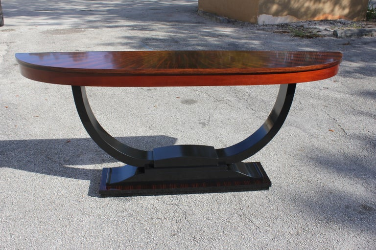 French Art Deco Exotic Macassar Ebony 'Sunburst' Console Tables, circa 1940s For Sale 15